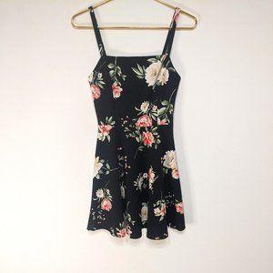 Soprano Black Floral Spaghetti Strap Skater Dress